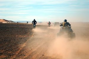 Motorcyclists in the desert