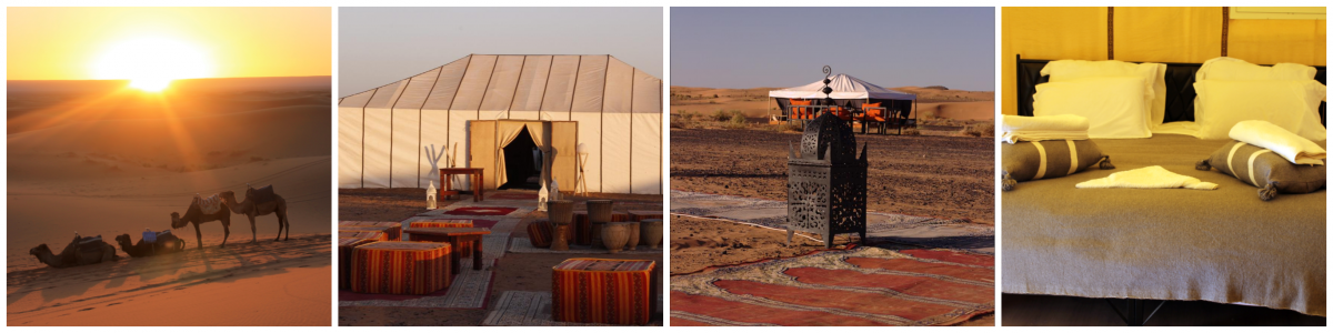 royal oasis camp en zonsopgang in de Sahara