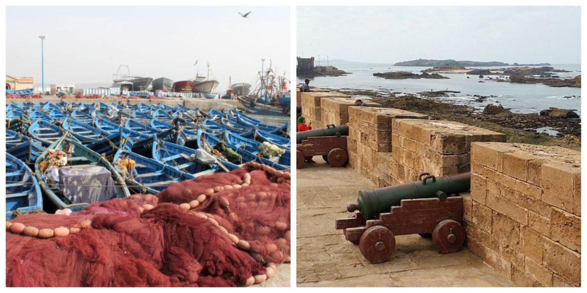 harbor of essaouira with blue fishingboats and seaview from the skala with cannons