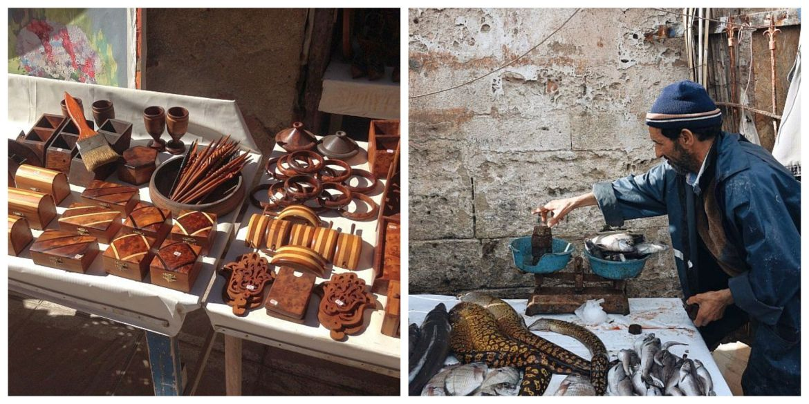 handycrafts made of ebony and fishseller in the harbor of essaouira